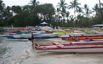 Hawaiian Outrigger Canoes Preparing