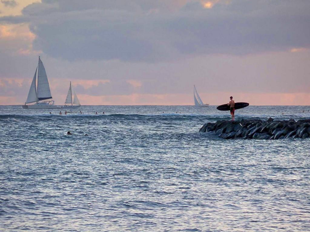Oahu Sufer At Sunset