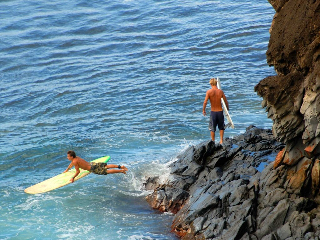 Hawaii Surfers Jumping In