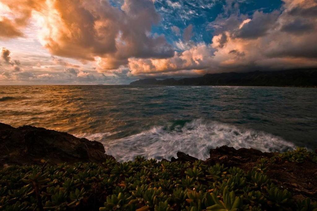 Laie Point, Oahu Hawaii, Fire Sky
