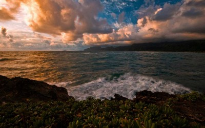 Laie Point, Oahu Hawaii, Fire Sky