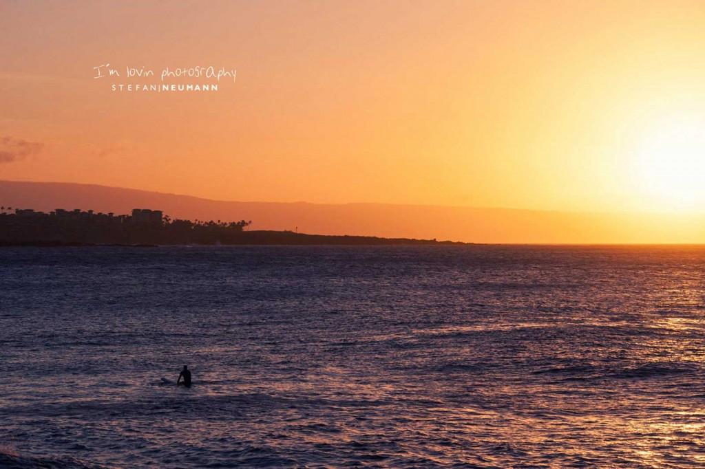 honolua-bay-surfer-sunset