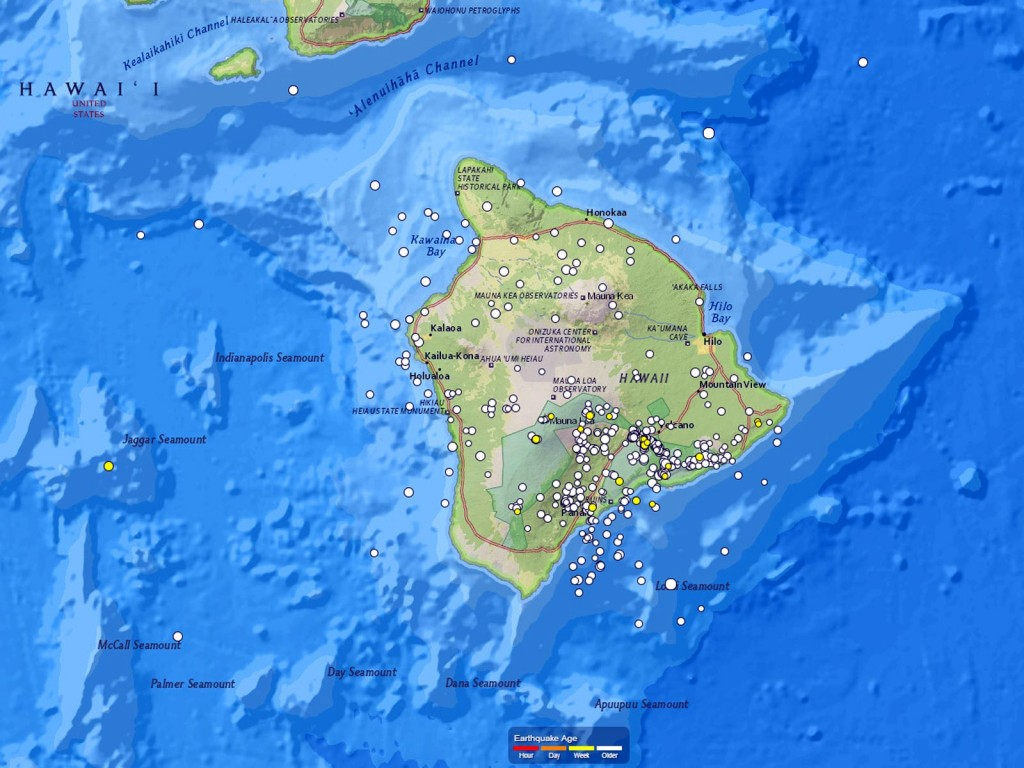 On Shaky Ground: Hawaii Earthquake Map   Hawaii Pictures