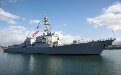 PEARL HARBOR (Feb. 5, 2015) The guided-missile destroyer USS Halsey (DDG 97) prepares to moor at Joint Base Pearl Harbor-Hickam following a seven-month deployment. Halsey and its crew of nearly 280 Sailors conducted various theater security operations and goodwill activities with partner nations. Halsey also participated in cooperation afloat readiness and training, building partnerships to increase stability in the Indo-Asia Pacific region, and provided as an escort to both Carl Vinson and George Washington Strike Groups during Valiant Shield and Keen Sword exercises. (U.S. Navy photo by Mass Communication Specialist 2nd Class Johans Chavarro/Released)